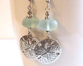 Sand Dollar Earrings - Beach Glass Earrings, Silver Earrings, Ocean Jewelry, Beach Jewelry