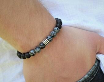 Men's Onyx Obsidian Bracelet Mens Beaded Bracelet Mens Onyx Bracelet Mens 8mm Obsidian Bracelet   Gift Anniversary Gift