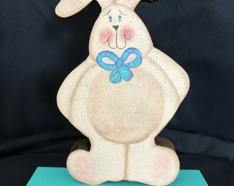 Welcome block with wooden easter bunny