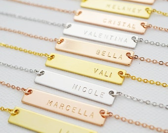 Hand Stamped Custom Name Necklace name bar Necklace Personalized necklace Bridesmaid Gifts Christmas gift for her Personalized jewelry