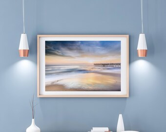 Matted Print, Color Photograph of Sunrise at Sandbridge Beach, Virginia