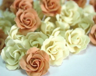 Miniature Roses Handcrafted Clay with Pearl bead, 20 pcs.
