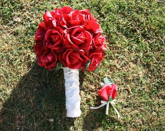 Classy True Touch Red Rose Bouquet and Boutonniere