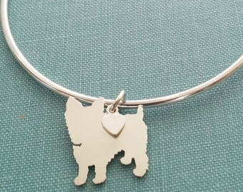Yorkshire Terrier Dog Bangle Bracelet, Sterling Silver Personalize Pendant, Breed Silhouette Charm, Rescue Shelter, Mothers Day Gift