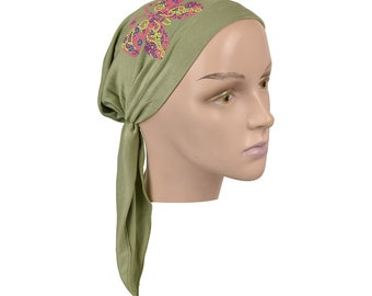 Kids Light Green Pretied Headscarf Girl's Head Scarf w/Multi Color Stud Butterfly Applique Alopecia Hair Loss Beanie Chemo Cap Head Cover
