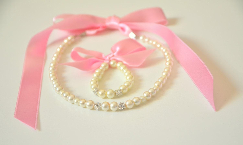 Flower girl jewelry/Pale pink ribbon Flower girl pearl jewelry