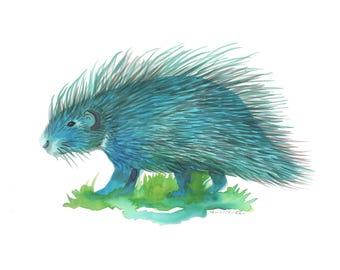 Blue Porcupine Print, Watercolor Print, Kid's Room, Original Art Print, Giclee Print, Fine Art, Watercolor Painting, FIne Art Print,