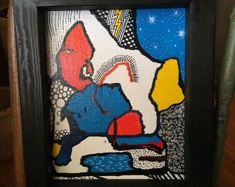 Rätsel der Sphinx Acryl Kunst-abstrakte Malerei Muster benutzerdefinierte gerahmt 8 x 10