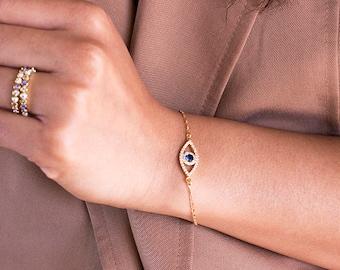 Evil Eye Bracelet, Gold Evil Eye Bracelet, Dainty Bracelet, Hamsa Bracelet, Gold Bracelet, Evil Eye Jewelry, Evil Eye Gold Bracelet, Gift