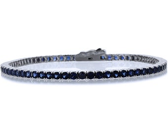 2.5mm 14K White Gold 3.6 ct Simulated Sapphire Cubic CZ Tennis Bracelet 7.25in(CLB013RD25WG-BS)