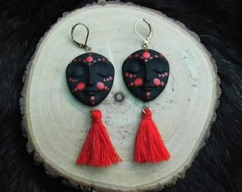 Face & Tassle Earrings
