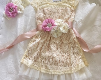 Cream flower girl dress, Crystal and pearl  Belt -lace baby dress, rustic flower girl dress, country flower girl dress, lace girls dresses.