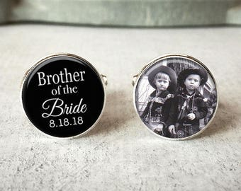 Brother Of The Bride Cufflinks, Personalized Cufflinks, Wedding Cuff links, Custom Cufflinks, Photo Cufflinks, Wedding Keepsake