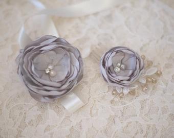 Handmade hair flower | Silver flower hair comb | Grey hair flower | Fabric flower | Bridal haircomb | Silk hair flowers
