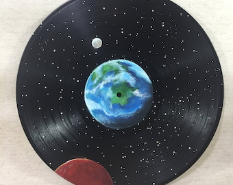 Space Record Hand painted