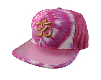 OM Spiritual Symbol Yoga Lifestyle 3D Puff Golden Embroidery Design Adjustable High Profile Structured Pink Tie Dye Trucker Mesh Fashion Cap