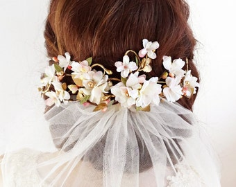 floral hair clip, ivory and gold hair vine, floral hair piece, ivory hair flower, bridal hair comb, wedding hair comb, floral headpiece
