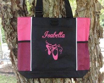 Personalized Dance/Ballet Tote Bag-Black and Fuchsia Dance Bag  Ballet Bag