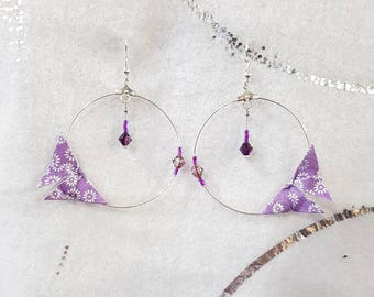 Origami butterflies purple and Silver earrings