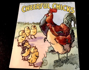 Clearance Sale, Cheerful Chicks, Linenette Book, Picture Book, Farm Animals, Sam'l Gabriel Sons & Company, New York, Copyright 1942