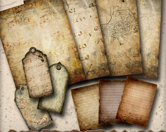 Aged Distressed Printable Journal Kit - 4 Letter Sheets, 3 Tags, 3 Cards - Stationery Art Journals and Digital Collage