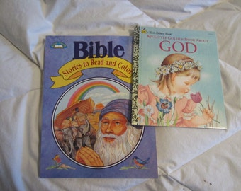 Christian My Little Golden Book About GOD by Eloise Wilkin and Children's Bible Coloring Book SALE 10% Off