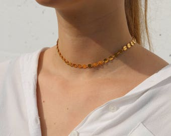 Gold Choker - Gold Necklace - Gold coin Necklace - coin Choker - Boho Jewelry - Bohemian Choker - Gold Choker