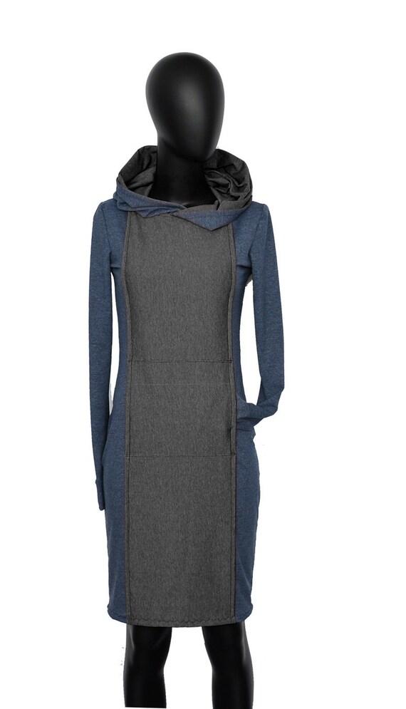 dress AN3 women grey Ladies Designer sleeve blue Fabian melange blue Hooded long hoodie gray dress Iza RFzgn