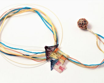 Home necklace, long lariat necklace, statement necklace, interchangeable, art teacher gift women, colorful, hippie, wire jewelry, Unusual