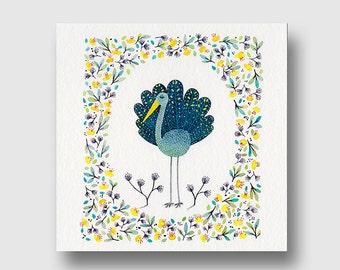 Greeting card, card art, Yellow-billed bird and flowers, art watercolor reproduction, giclee