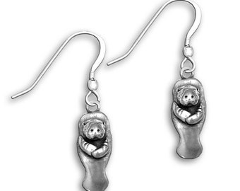 Sterling Silver Manatee Earrings