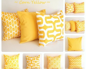 Yellow pillow cover ONE cushion cover mustard corn yellow white throw pillow sham you choose print