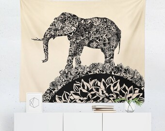 Elephant Tapestry   Elephant Wall Tapestry   Elephant Wall Décor   Elephant  Gift   Elephant Wall