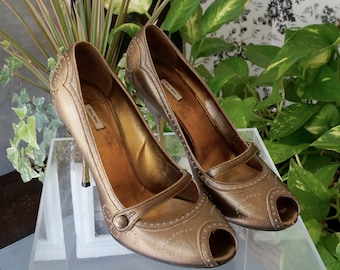 Free Shipping! Vtg. MIU MIU Bronze Leather High Heel Mary Janes - Size Eu 39/ US 8.5