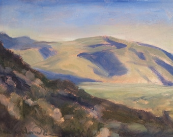 Across the Albuquerque Foothills from La Cueva - New Mexico - Original Oil Landscape Painting