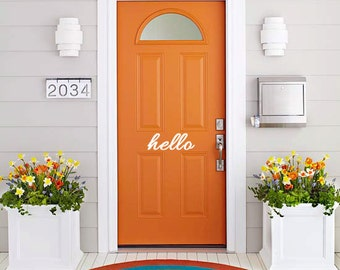 Vinyl Wall Decal Art - Hello Vinyl front door sign. Goodbye Bonjour Aloha Salut Welcome Bye See-ya