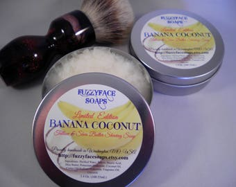 BANANA COCONUT Luxury Tallow & Shea Butter Shaving Soap Limited Edition