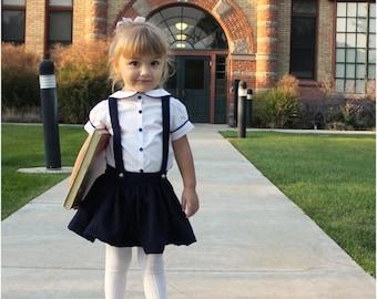 Molly Schoolgirl Skirt: Girls Skirt with Suspenders PDF Pattern, Baby Skirt PDF Pattern, Toddler Skirt PDF Pattern