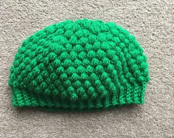 Green puff stitch hat 6-12 months