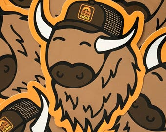 SoDak Buffy Sticker - South Dakota Buffalo Sticker - SoDak Buffy in SoDak Retro Hat Vinyl Decal by Oh Geez! Design - SoDak Bison Sticker