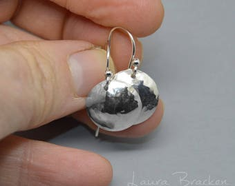 Textured Convex Sterling Silver Dome Earrings, Choose Your Size, Hammered Metal, Disk Earrings
