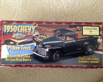 Vintage Ertl Collectibles 1950 Chevy Pickup Truck Prestige Series in Navy/Yellow.  New in Box (1995)