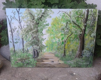 Forest painting , Acrylic painting on canavas , Spring tree , Green Tree , Green forest , Beautiful forest