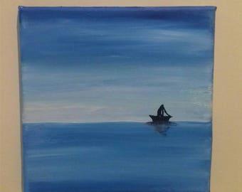Original Oil Canvas Painting, Boat, Sea, Wall Decor, Home Decor