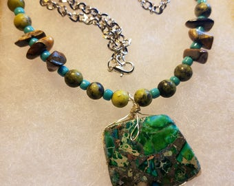 21 in.could be a choker depends on your size; Tiger eye  chips ,yellow Turquoise rounds;