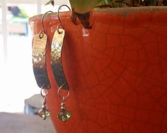 Golden Brass and Sterling Silver Earrings