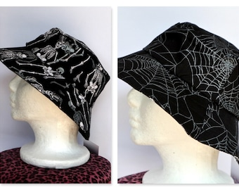 Skeleton Reversible Boys Hat -sizes 6 mths - 8 yrs- black, skull, spider, silver