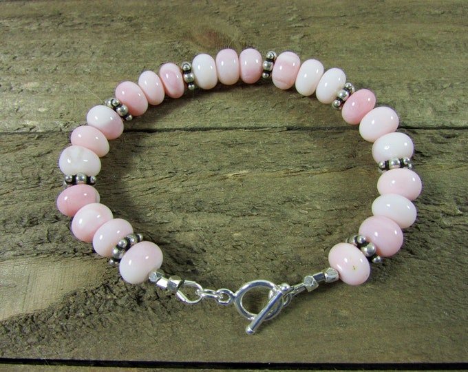Pink Peruvian Opal Bracelet, Sterling Silver & Pink Bracelet, Gemstone Bracelet