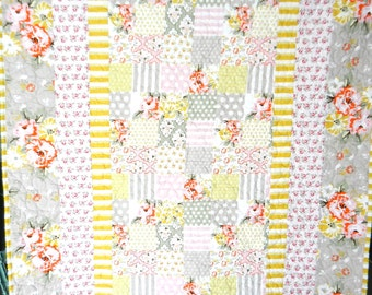 Modern Trendy Romantic Baby Girl Quilt with Cuddly Dimple Dot Minky Backing Reversible Shabby Nursery Pink Coral Mustard Yellow Stone Gray