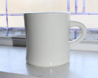 Vintage White Ironstone Coffee Mug Rustic Farmhouse